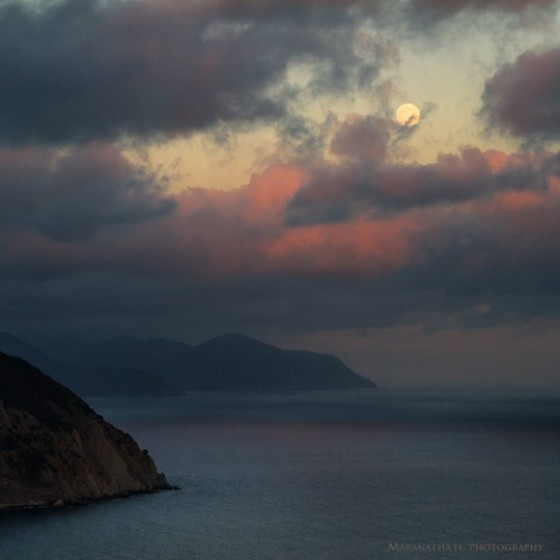 Super Moon over Punta Manara, Sestri Levante (Italy)